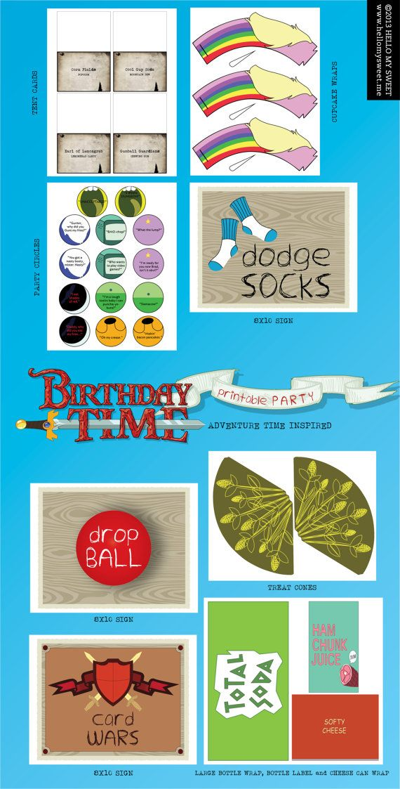 Adventure Time Party Printable Birthday by HelloMySweet on Etsy