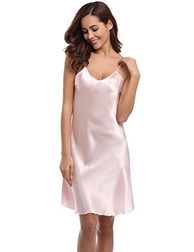 030f0b1849b25a Aibrou Damen Sexy Negligee Nachthemd Satin Nachtkleid Nachtwäsche  Unterwäsche Sleepwear Kurz Trägerkleid V Ausschnitt Rosa XXXL