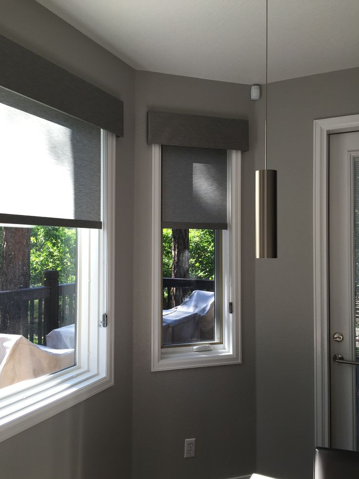 Hunter Douglas Designer Roller  Shades with Fabric Covered Cornice.