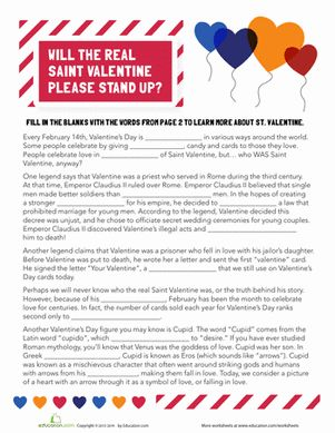 """Who is Saint Valentine? Learn about the legendary figure with this fill-in-the-blank worksheet and answer the question, """"Who is Saint Valentine?"""" for yourself."""