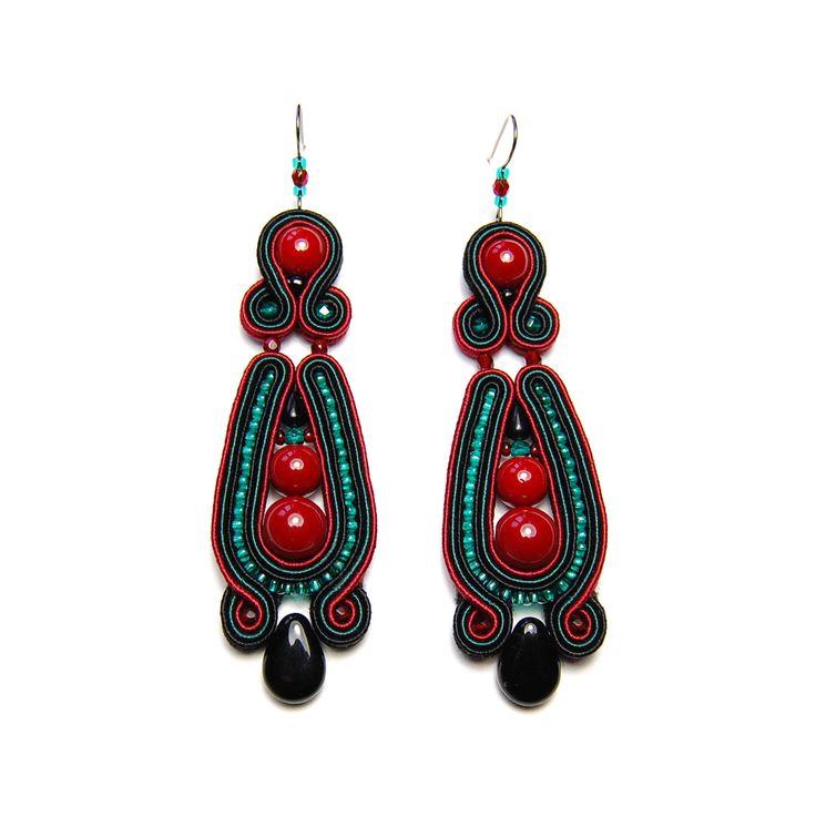 Soutache earrings red burgundy green emerald black handmade jewelry shop gift sale orecchini pendientes oorbellen Ohrringe brincos örhängen by SoutacheFlowOn on Etsy