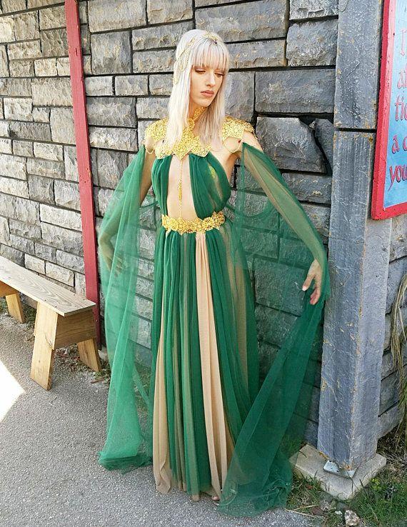 164b92b1553c5 FAIRYTALE ELVIN PRINCESS Costume Fantasy Fairy Medieval Queen ...