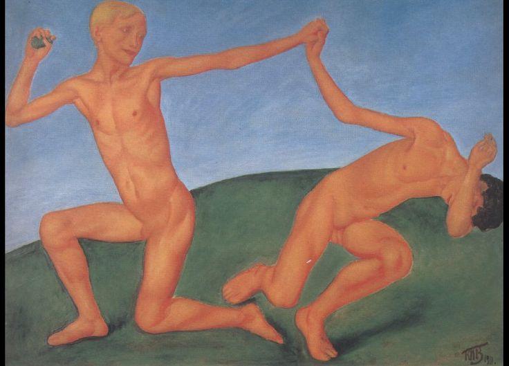 Boys playing (Petrov-Vodkin) - Kuzma Petrov-Vodkin – Wikimedia Commons