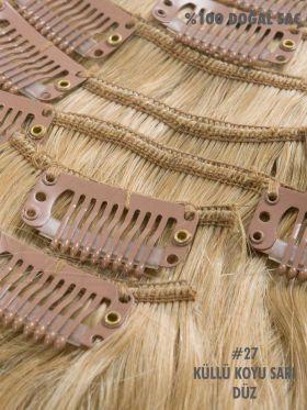 27 Küllü Koyu Sarı Düz Çıt Çıt Saç Seti