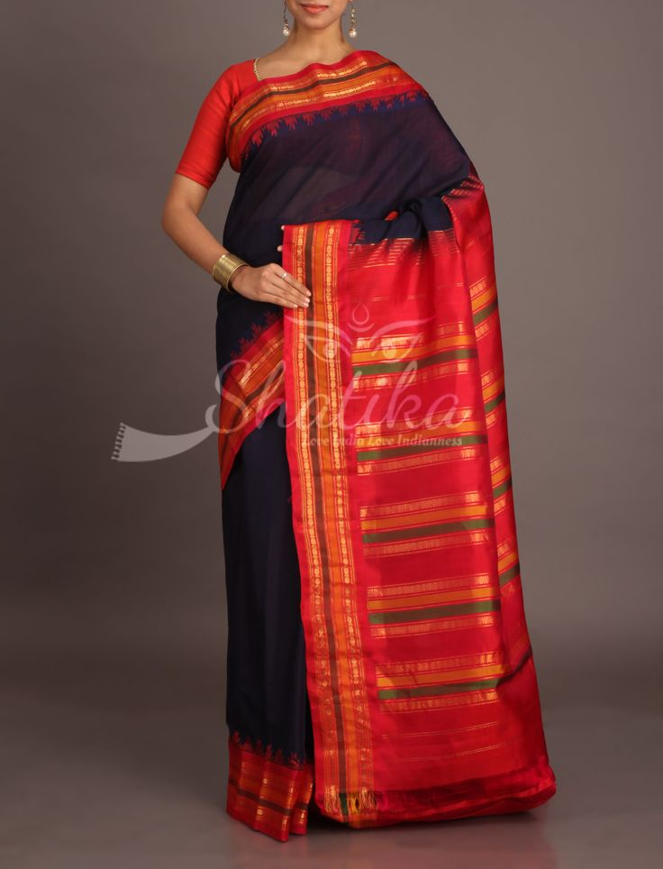 Bhanu Navy Blue With Bold Red Stripe Border Pallu Pure Gadwal Silk Cotton Saree