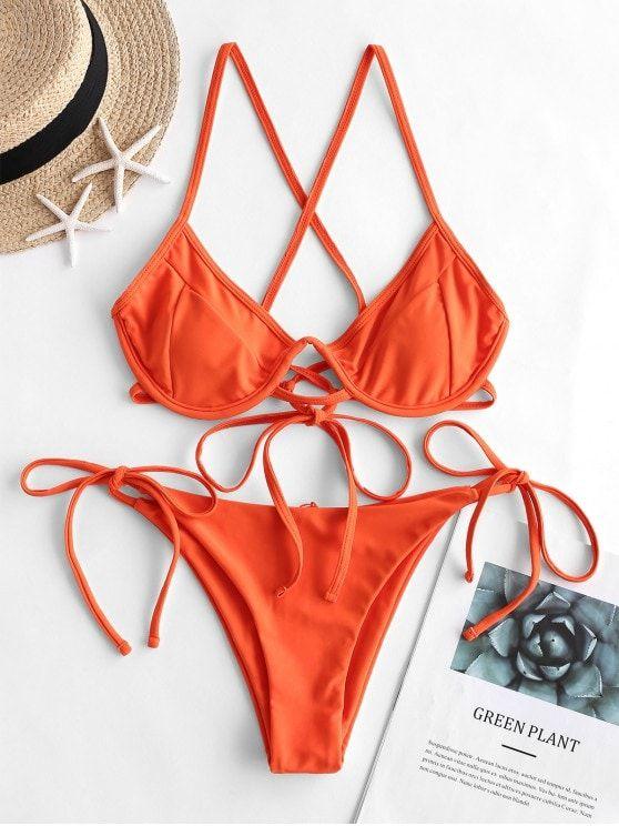 ZAFUL Push Up Criss Cross String Bikini Swimsuit - Orange M 1