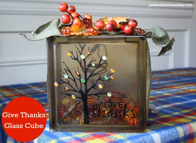 Give Thanks Glass Cube With Supplies From Ben Franklin Crafts And Frames Falldecor Fallcrafts