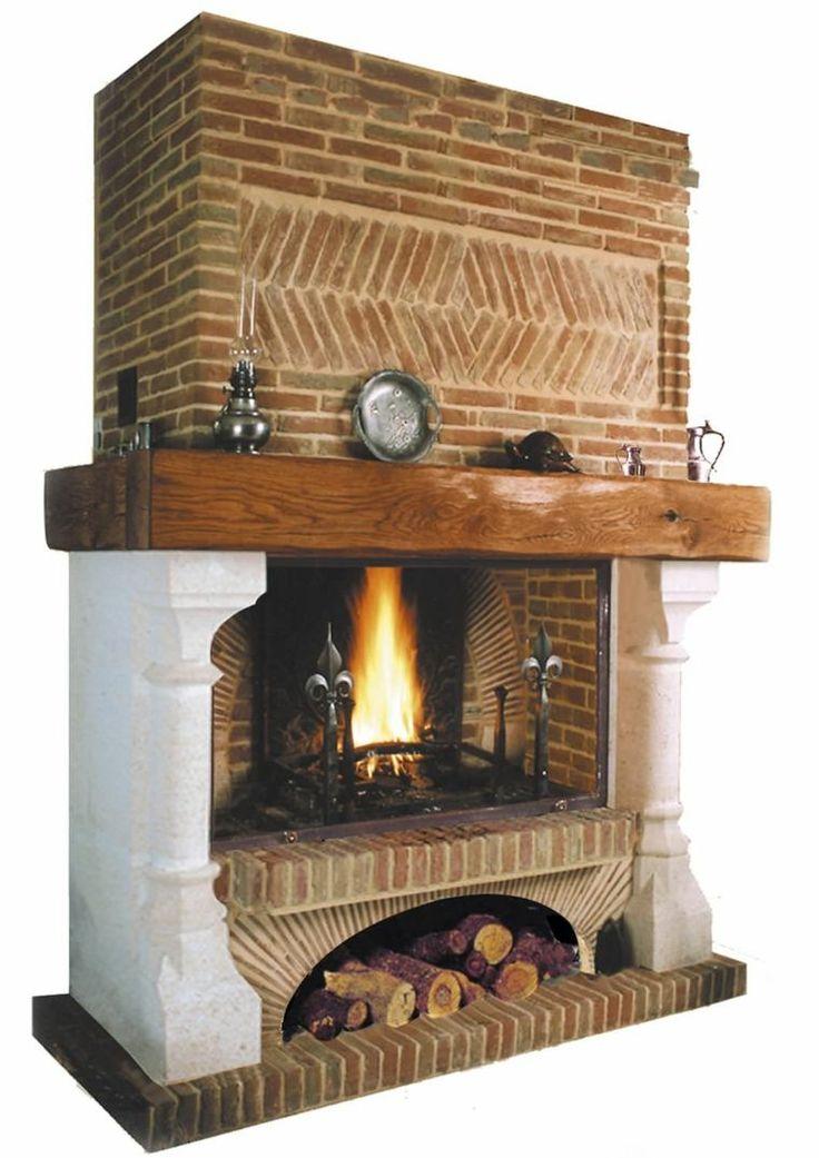 cheminée en briques design idée bois déco mur