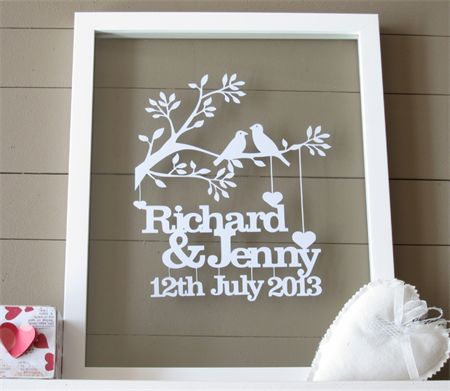 Framed Personalised Wedding or Anniversary papercut  keepsake.