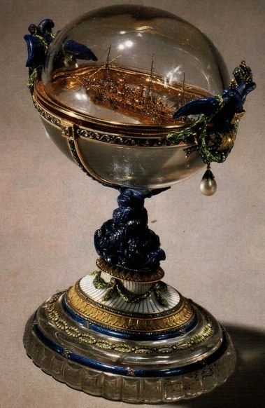 Fabergé: Standart Yacht Egg 1909. A gift of Tsar Nicholas II to his wife Alexander Fiodorovna, for Easter