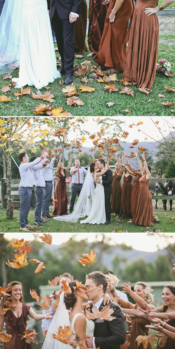 Could never decide what i wanted thrown or done upon the exit from the church but now I do: Leaves.  Especially since I want an October wedding.: Fall Leaves, Photo Ideas, Wedding Ideas, Throw Leaves, Bridesmaid Dresses, October Wedding, Autumn Wedding, Wedding Photo, Fall Weddings