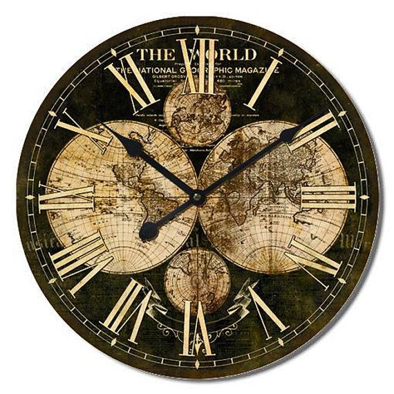 Large Wall Clock WORLD MAP Vintage Wall Clock 24x24 by Homeguru