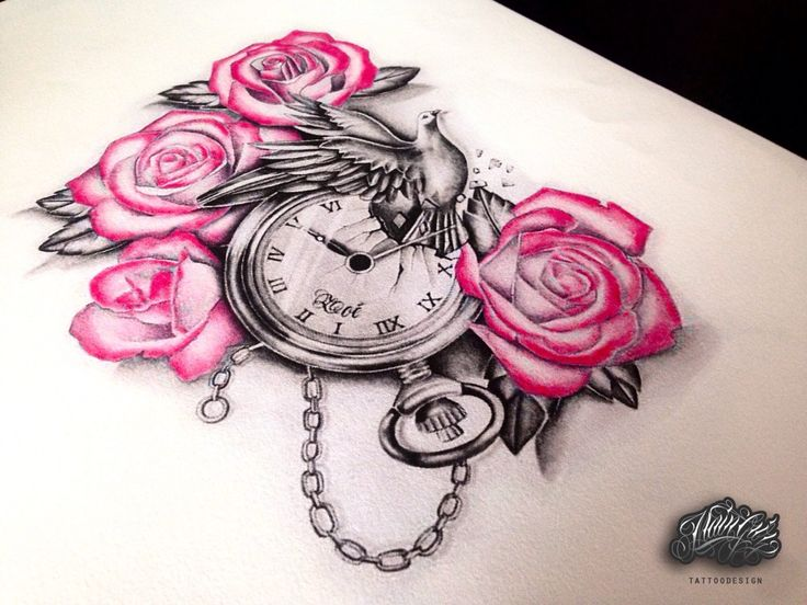 Tattoo / draw / ideas / flower / time / rose / color / black and grey / pink / realiste