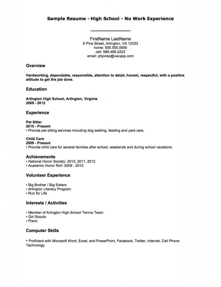 Sample Resume High School No Work Experience First Job Template For College Student