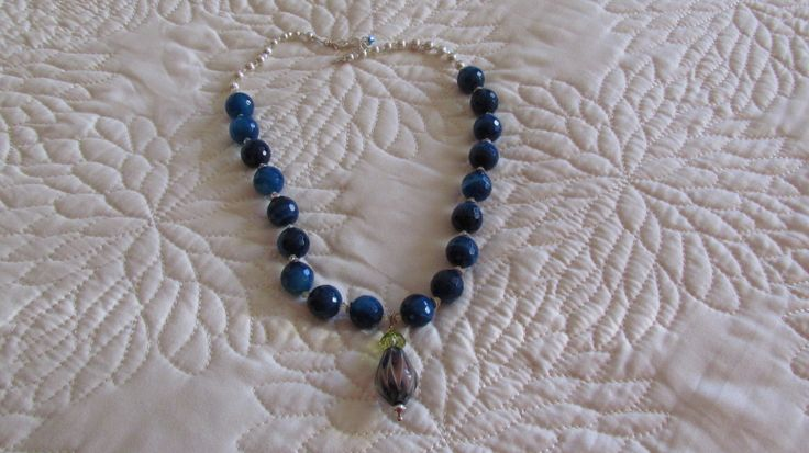 Blue Agate beads from Mexico, gorgeous lamp work bead and silver. Mine