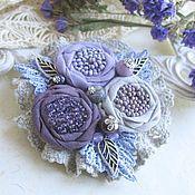 """Украшения ручной работы. Ярмарка Мастеров - ручная работа """"Черничный мусс"""" бохо брошь сиреневый цветок фиолетовый. Handmade."""