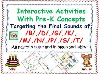 Interactive Activities With Pre-K Concepts Targeting Final Sounds In Words from Shanda from Shanda on TeachersNotebook.com (80 pages) - We hope that you enjoy this fun packet for targeting Pre K Language Concepts targeting the production of final consonants.
