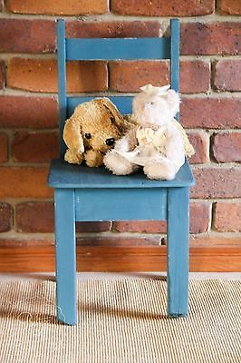 Antique Child Toddler Chair Painted in Milk Paint Blue, Rustic, Great Photo Prop