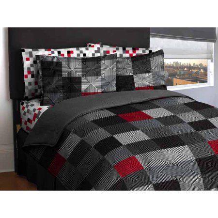 American Original Geo Blocks Bed in a Bag Bedding Comforter Set - Walmart.com