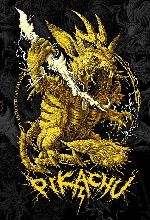 Pikachu - the great demon of thunderstorms and lightnings. Creepy monster, pokemon, death metal / black metal art, tshirt design, yellow, character design, cg, concept art, rats, dark art.