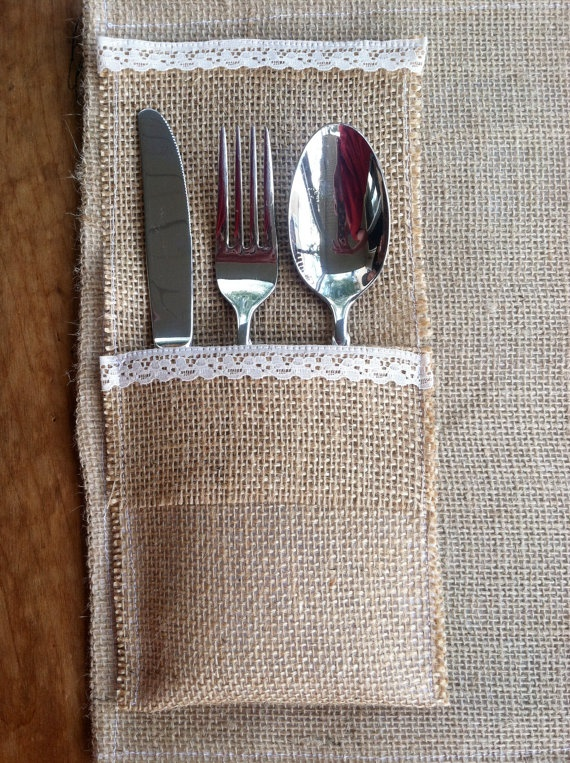 Burlap & lace utensil holders with burlap & lace placemats--nice for outside dining