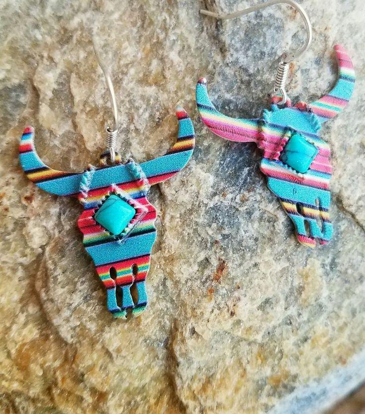 Cowgirl BLING LONGHORN STEER SKULL EARRINGS Southwestern Gypsy  #Unbranded #PIERCED
