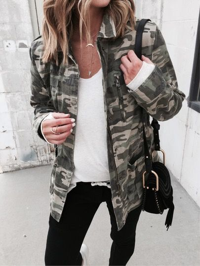Get trendy in this awesome Camo Jacket! We're loving this Spring piece in a classic camo print! This structured jacket includes long sleeves, two front flap chest pockets, a concealed snap zip close,