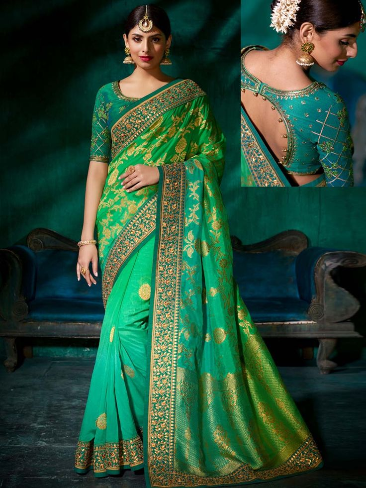 Enhancing light green shaded viscose saree with patch border is to make you look very stylish and graceful. An excellent designer piece will add stars in your beauty and personality.