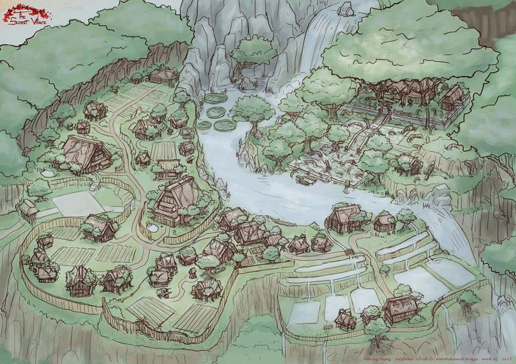 elf and human village town city settlement landscape location environment architecture map cartography | Create your own roleplaying game material w/ RPG Bard: www.rpgbard.com | Writing inspiration for Dungeons and Dragons DND D&D Pathfinder PFRPG Warhammer 40k Star Wars Shadowrun Call of Cthulhu Lord of the Rings LoTR + d20 fantasy science fiction scifi horror design | Not Trusty Sword art: click artwork for source