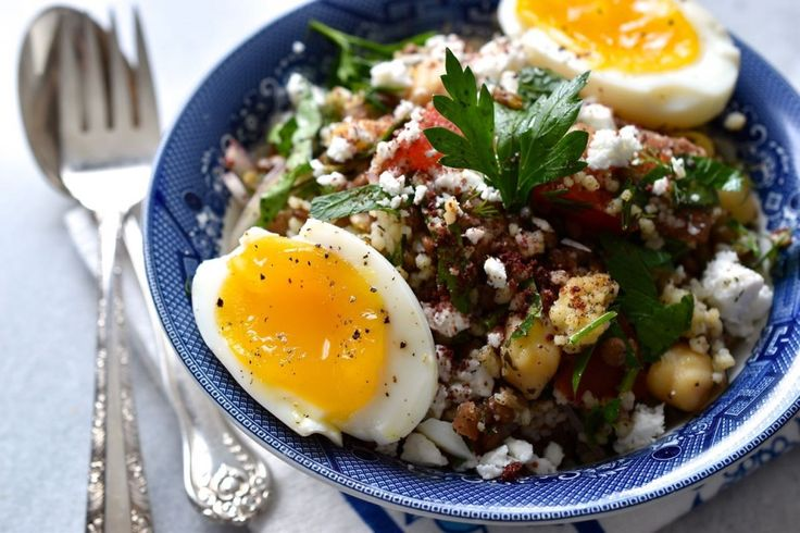 Lentil, chickpeas and couscous salad with herbs and feta