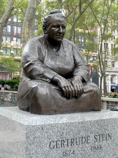 Gertrude Stein statue, Bryant Park, NYC, www.RevWill.com