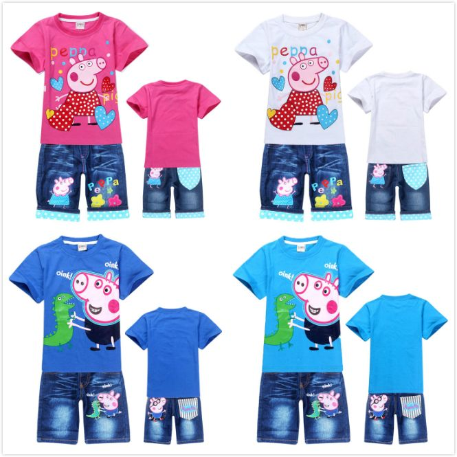 1pcs,New 2014 Peppa Pig clothing set cotton t-shirt+jeans girls and boys suits Cartoon clothing Sets kids suit free shipping