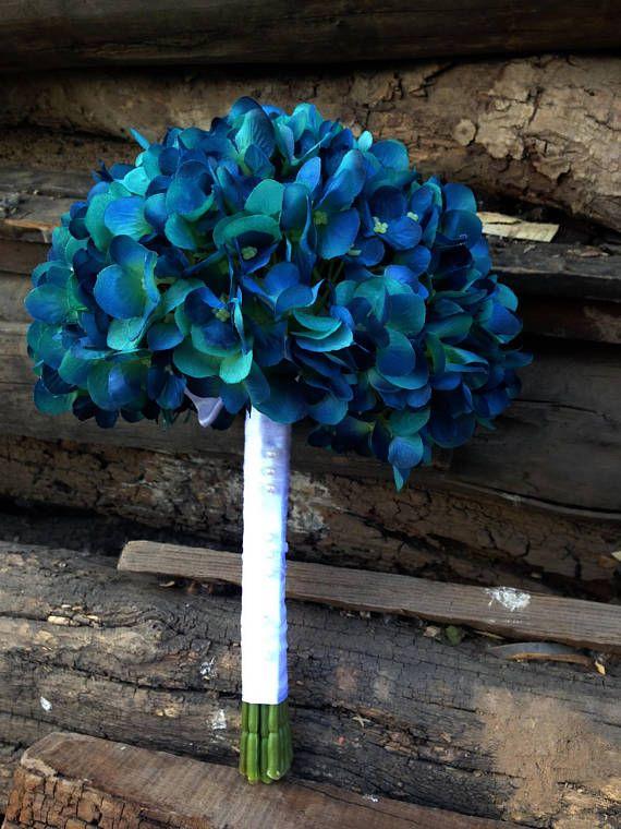 Teal Blue Hydrangea Bouquet Silk Hydrangea Flower Wedding