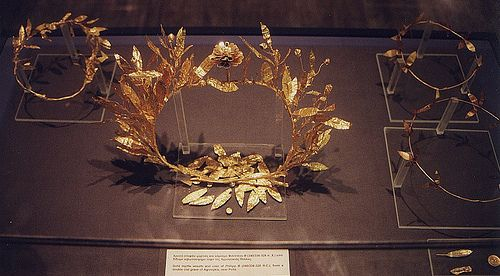 Ancient Macedonian royalty gold crown from Pella  Pella Macedonia Greece - ancient Macedonian royalty gold crown with acorns adorning it  History of Macedonia - the ancient kingdom of Greece