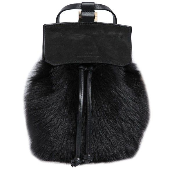 DESA NINETEENSEVENTYTWO Two Suede & Leather Backpack W/ Lamb Fur ($521) ❤ liked on Polyvore featuring bags, backpacks, black, knapsack bags, black backpack, suede bag, black bag and pocket bag