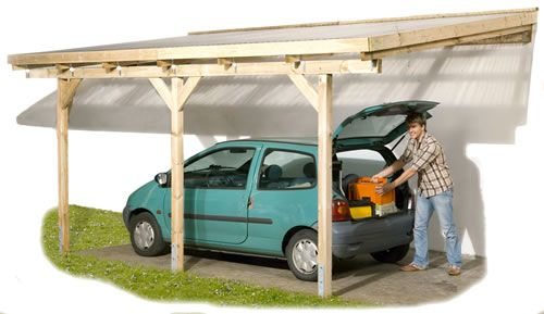 lean-to shed roof attached to garage: carport DIY - would something like this work as a patio cover? It would still let lots of light in through the kitchen window.
