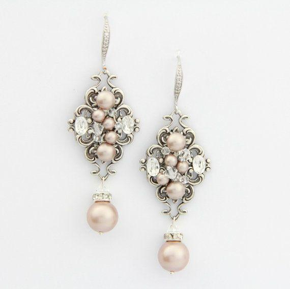 Blozen Champagne parel oorbellen kroonluchter bruiloft oorbellen Crystal bruiloft oorbellen, bruids kroonluchter oorbellen, Vintage Wedding Jewelry