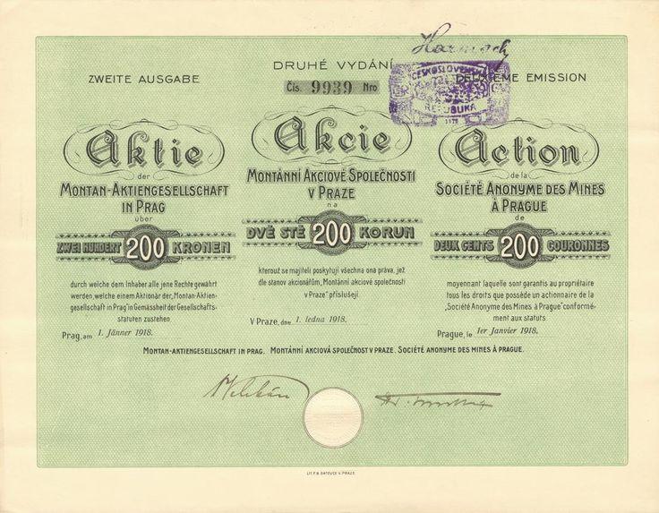 Montánní akc. spol. v Praze (Montan-AG. in Prag). Akcie na 200 Korun. Praha, 1918. II. vydání.