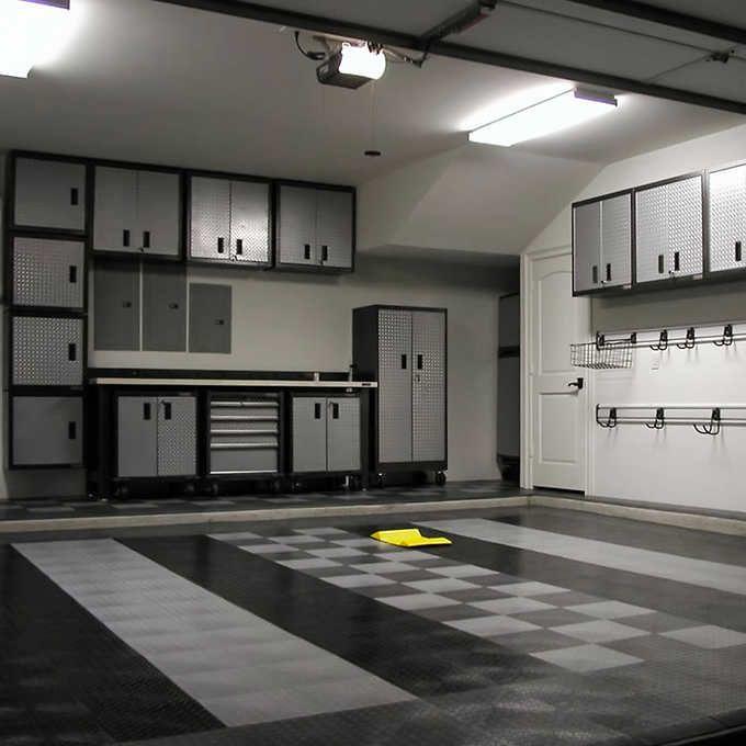 Motofloor Modular Garage Flooring Tiles 48 Square Feet Per Box 1 X 1 Tiles In 2020 Garage Interior Garage Floor Tiles Garage Floors Diy