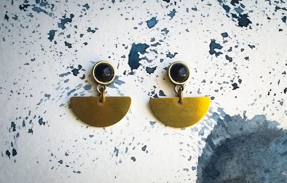 Geometric Brass Earrings Semi Circle and Black Opaque Stone