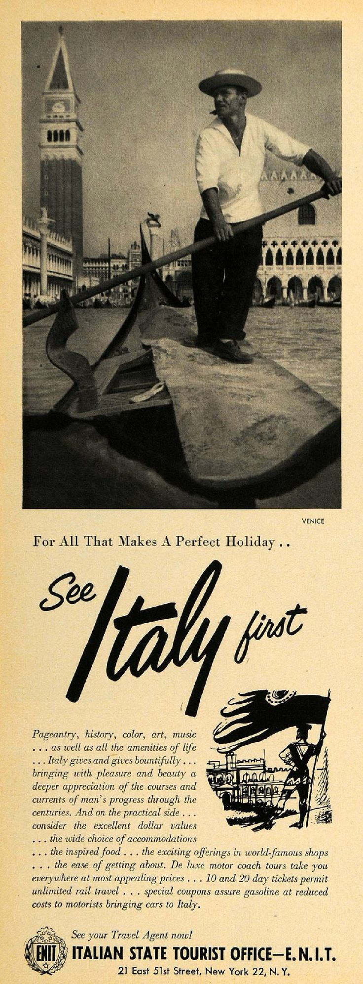 Vintage ad by the Italian Tourist Board...this is a fabulous old poster!