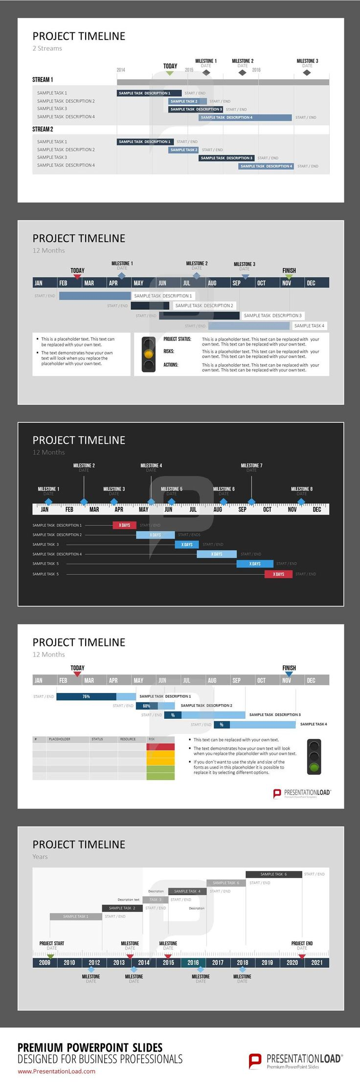 This set of templates offers a selection of individually designed Gantt Charts.