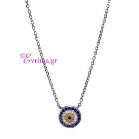 Prince Silvero   Ασημένιο κολιέ (Μάτι) Prince Silvero από επιπλατινωμένο ασήμι 925ο με ημιπολύτιμες πέτρες (Ζιργκόν). [DF-KD083] 45cm chain