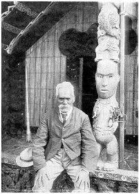 Te Waru, a tattooing expert (tohunga-ta-moko), of Ngati-Whaoa tribe, Paeroa, Rotorua, date 1900.