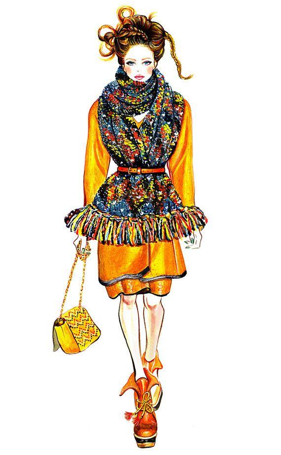 Watercolour Fashion Illustration 13x16 print  Mulberry by sunnygu, $50.00