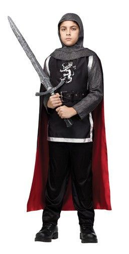 #131252 Defend the King as a Medieval Knight this Halloween. The Medieval Knight Costume includes a tunic displaying a royal shield with faux mail long sleeves and attached red and black knee length c