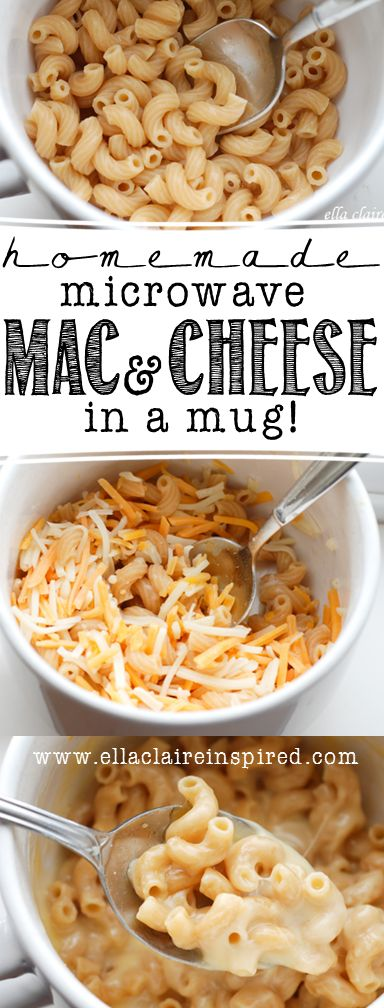 Macaroni & Cheese in a mug ... used regular elbow macaroni, needs a full half cup of water to microwave, then add cheese and milk and microwave for a minute and 30 seconds more ... pretty tasty when I'm hungry now and don't want to wait to make myself something to eat