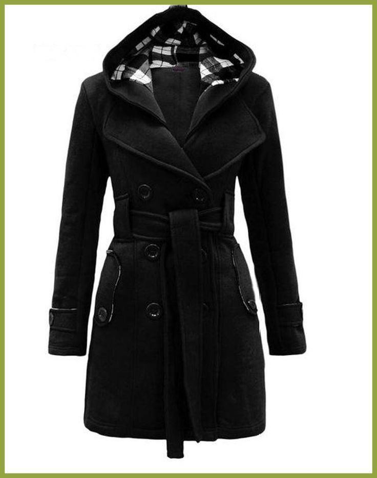 Womens Fashion Woolen Double Breasted Pea Coat Casual Hoodie Winter Warm Jacket