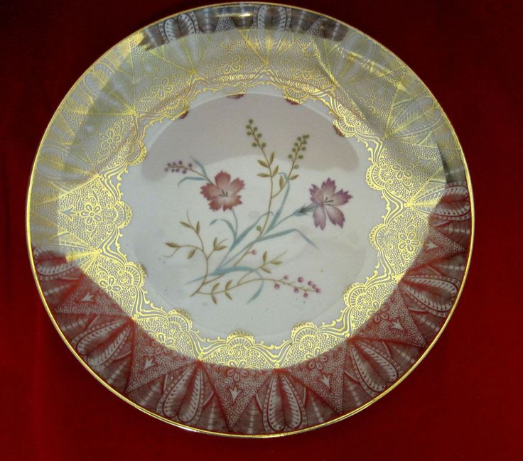 Plate Winterling Rostau Bovaria Mid-Century Gold Gilt Flower Design Collector #WinterlingRostauBovaria #QueenAnne