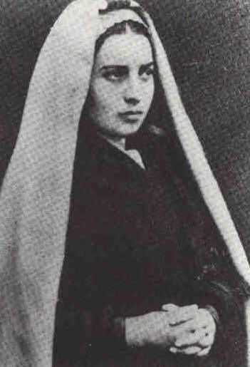 My favorite photograph of Bernadette Soubirous as a young woman. She was very beautiful and my personal favorite Saint. The Blessed Mother appeared to her at Lourdes, France, a place I still want to visit soon.
